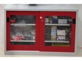 RED STEEL PPE CABINET PLEXI