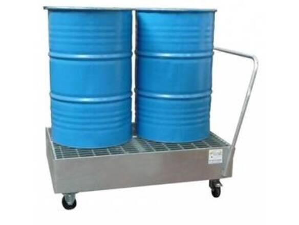 SPILL DRUM CADDY GALV STEEL WHEELS 2BARR